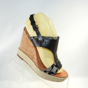 Coach Mendez Size 7 Black Sandal Womens B2D17